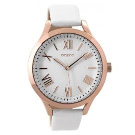 Oozoo C9476 Ladies Watch with Leather Strap rose/white 42 mm