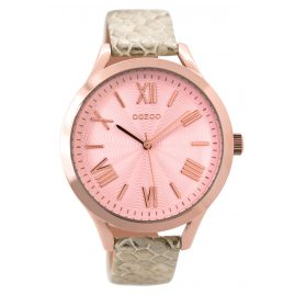 Oozoo C9478 Ladies Watch with Leather Strap pinkgold/snake 42 mm