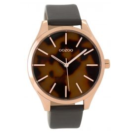 Oozoo C9504 Ladies Watch with Leather Strap rosegold/grey 42 mm