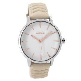 Oozoo C9505 Damen-Armbanduhr mit Lederband silberfarben/beige 40 mm