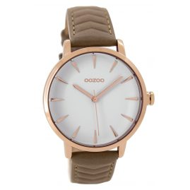 Oozoo C9508 Ladies Watch with Leather Strap rose-gold/taupe 40 mm