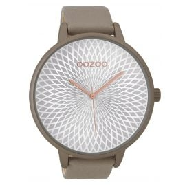 Oozoo 9523 XXL Ladies Watch Taupe/Silver 48 mm