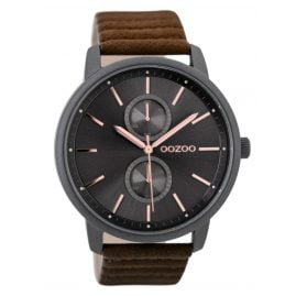 Oozoo C9452 Mens Watch Black/Brown 45 mm