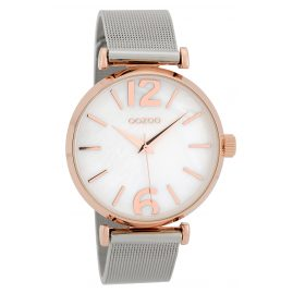 Oozoo C9566 Ladies' Wristwatch Mesh Band Rose Gold Tone/White 40 mm