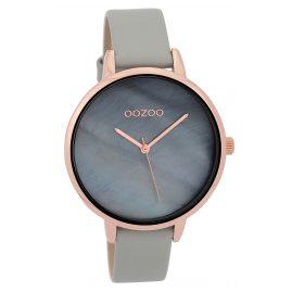 Oozoo C9586 Armbanduhr mit Lederband Hellgrau/Blaugrau 40 mm