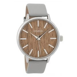Oozoo C9250 Ladies Watch Wood Dial Stonegrey/Oak XL 42 mm