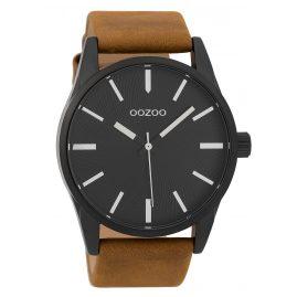 Oozoo C9627 Herrenuhr 45 mm Lederband Schwarz/Braun