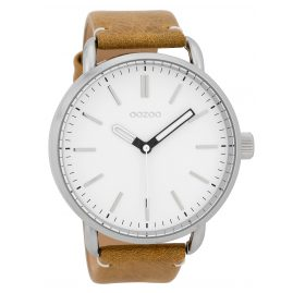 Oozoo C9631 Men's Watch 48 mm Leather Strap White/Beige