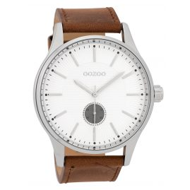 Oozoo C9635 Men's Watch Leather Strap White/Brown 48 mm