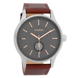 Oozoo C9636 Men's Watch with Leather Strap Grey/Brown 48 mm