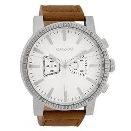 Oozoo C9645 Herrenuhr im Chrono-Look Weiß/Braun 50 mm