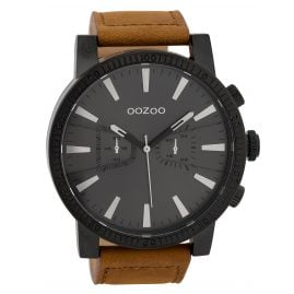 Oozoo C9647 Men's Watch with Chrono Look Black/Brown 50 mm