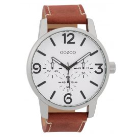 Oozoo C9650 Men's Watch with Leather Strap White/Coral-Red 45 mm