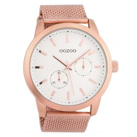Oozoo C9660 Men's Watch with Mesh Bracelet White/Rose 47 mm