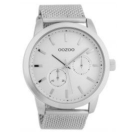 Oozoo C9663 Herrenuhr mit Milanaisearmband Silberfarben 47 mm