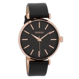 Oozoo C9669 Ladies Watch with Leather Strap Black 40 mm
