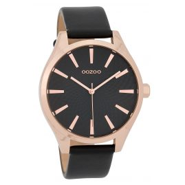 Oozoo C9689 Ladies' Watch with Leather Strap Black 43 mm