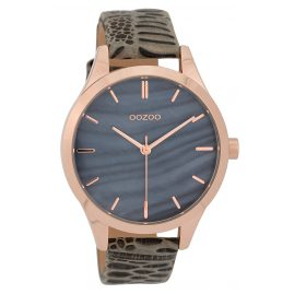 Oozoo C9720 Ladies' Watch With Leather Strap Greyblue/Taupe 42 mm