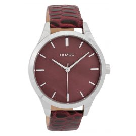 Oozoo C9722 Ladies' Watch with Leather Strap Dark Red 42 mm