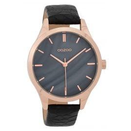 Oozoo C9724 Damenuhr mit Lederband Grau/Schwarz 42 mm