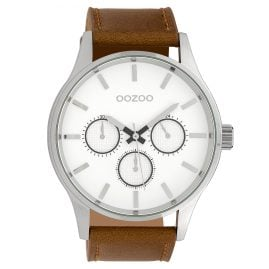 Oozoo C10045 Men's Wristwatch Silver-Tone/Brown 48 mm