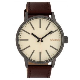 Oozoo C10010 Watch Raw Cream/Brown 45 mm