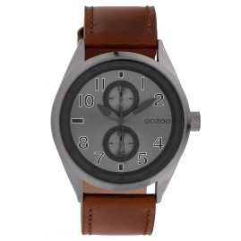 Oozoo C10028 Wristwatch Anthracite/Brown 42 mm