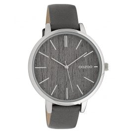 Oozoo C9745 Ladies' Watch with Leather Strap Grey/Wood 42 mm