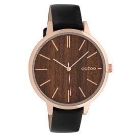 Oozoo C9749 Ladies' Watch with Leather Strap Black/Wood 42 mm