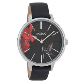 Oozoo C9764 Ladies' Watch with Leather Strap Hummingbird Black 42 mm