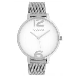 Oozoo C10138 Wristwatch with Mesh Strap White/Silver 42 mm