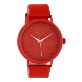 Oozoo C10163 Ladies' Watch with Leather Strap Coral Red/Rose 42 mm