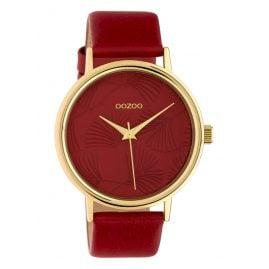 Oozoo C10393 Damenuhr mit Lederband 42 mm Rot