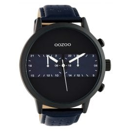 Oozoo C10301 Men's Watch with Leather Strap Ø 50 mm Dark Blue / Black