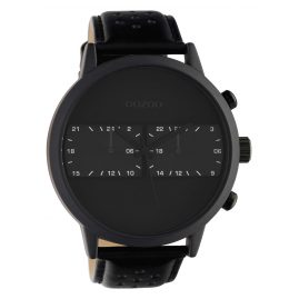 Oozoo C10303 Men's Watch with Leather Strap Ø 50 mm Black