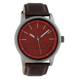 Oozoo C10306 Men's Watch with Leather Strap Ø 45 mm Dark Brown / Burgundy