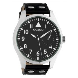 Oozoo C10328 Men's Watch with Leather Strap Ø 50 mm Black
