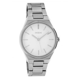 Oozoo C10340 Ladies Watch with Stainless Steel Band Ø 34 mm Silver / White
