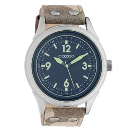 Oozoo C10353 Men's Watch with Leather Strap Ø 48 mm Camouflage / Grey