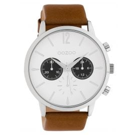 Oozoo C10355 Men's Watch with Leather Strap Ø 48 mm Brown / White