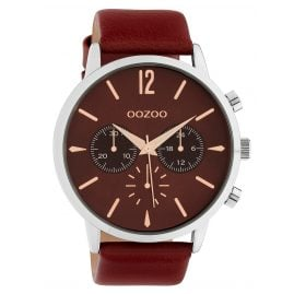 Oozoo C10356 Men's Watch with Leather Strap Ø 48 mm Burgundy