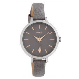 Oozoo C10385 Ladies' Watch Star with Leather Strap Ø 32 mm Grey