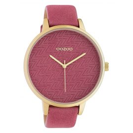 Oozoo C10405 Damenuhr Lederband Ø 45 mm Ziegelrot