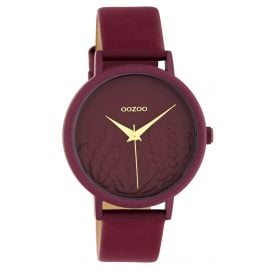 Oozoo C10609 Women's Watch with Leather Strap Claret-Red Summer Vibes Ø 36 m