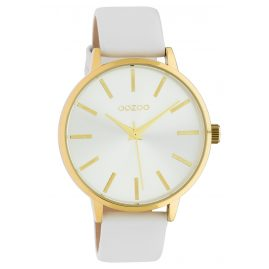 Oozoo C10611 Ladies' Watch with Leather Strap Gold Tone / White 42 mm