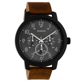 Oozoo C10507 Men's Watch with Leather Strap Chrono Look Brown / Dark Grey