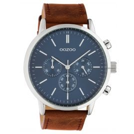 Oozoo C10540 Men's Wrist Watch with Chrono Look Brown / Blue 50 mm