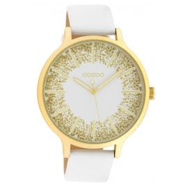 Oozoo C10566 Ladies' Watch Leather Strap Ø 45 mm white / gold