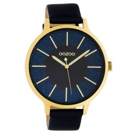 Oozoo C10568 Ladies' Watch Leather Strap Ø 45 mm black / gold / blue