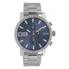 Oozoo C10705 Herrenuhr im Chrono-Look Stahlfarben/Blau 45 mm